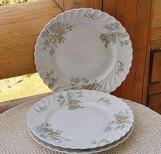 Haviland Limoges Margaux, Says Set of 3 Dinner Plates.  Doesn't give dimensions.  $99.99/Set of 3 at BehindTheHiddenDoor on etsy, 8/16/15