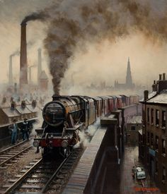Artist Rob Rowland - Member of the Guild of Railway Train Posters, Railway Posters, Old Steam Train, Steam Railway, Bonde, Train Art, British Rail, Old Trains, Train Pictures