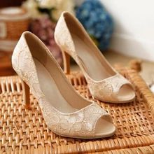 2015 New Vogue Womens Sexy Open Toe High Heels Shoes Lace Pumps Stiletto Elegant Sweet Sandal Beige Blue Pink Plus Size 34-43(China (Mainland))