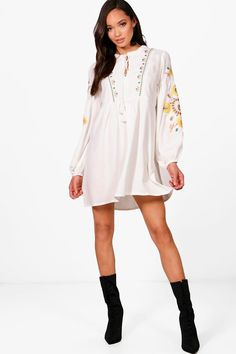 404f7d60a0 Hayma Heavily Embroidered Woven Smock Dress