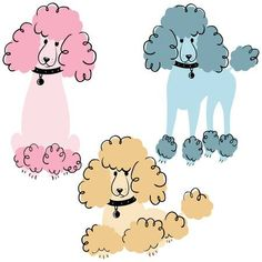Cartoon Doodle Poodles Isolated On White Background. Royalty Free Cliparts, Vectors, And Stock Illustration. Image Cartoon doodle poodles isolated on white background. Poodles, Poodle Drawing, Paper Dolls Clothing, Pink Poodle, Dog Vector, Dog Logo, Purebred Dogs, Dog Illustration, Cartoon Pics