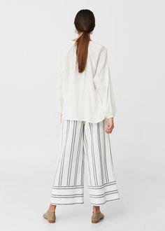 Teksturowana bluzka z bawełny | MANGO