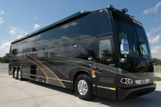 "Prevost Luxury Motorcoach. **Canopy tent garage for car, truck, motorhome, camp trailer, 5th wheel or any RV is an inexpensive way to cover it. Get my FREE eBook ""How to build Portable Carport"" More Info here: http://www.hiscoshelters.com/1-get-Free-ebook.html"