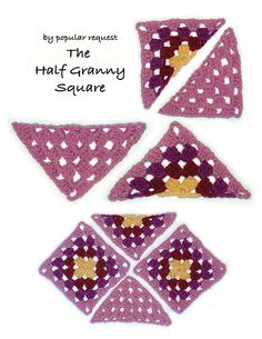 HALF GRANNY( For granny square lovers who also enjoy working this nifty little gem into clothing like vests, jumpers (pullovers) & skirts, to name a few,...) +++++++++++