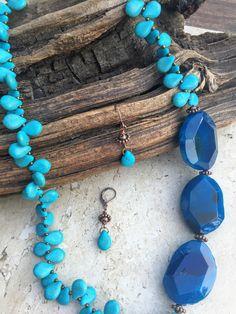 Blue Agate Howlite Necklace Earrings Set, Agate Druzy Slab Copper Necklace