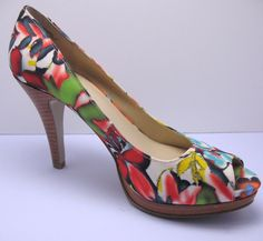 Nine West Danee High Heels Peep Toe Pumps Abstract Floral 7 M Multi Color #NineWest #PumpsClassics