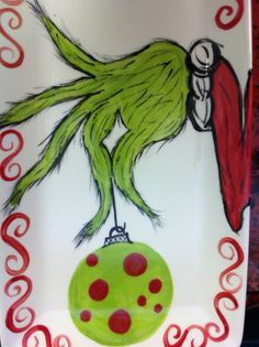 This is classic! Grinch Christmas plate! Just draw the design on a plate from the Dollar store with a Sharpie and Bake at 325 for 30 minutes and it is baked in!