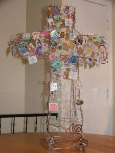 """I love this freestanding, three-dimensional wire cross sculpture at  Sojourn Community Church Children's Ministry in Louisville, KY. I need someone to make this for me.  I want one as a """"prayer station"""" response to worship."""