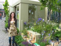 Agata Byrne, garden designer, Summitto garden design office, Flower display for Dalkey Book Festival, insect hotel, June 2011, Ireland