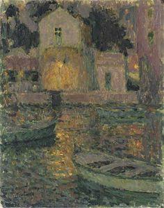 poboh:    Le maison des pêcheurs, Henri Le Sidaner. French (1862 - 1932)