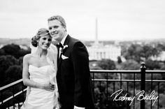 wedding in DC - love the bride's dress, veil and hair -- pretty. (and not a bad view of DC, either)