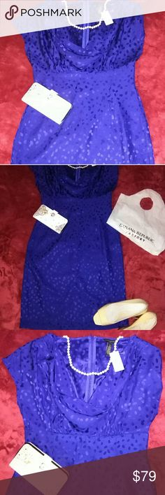 BANANAS REPUBLIC DRESS NEW WITH TAG. My birday gift from my mom😘😘💖👌 she wanted me to wear it on my birthday, i love blue as you may all be able to tell. Lol😆😄 sadly last time i saw her i was like always been but now i'm a bit over weight😄😩  ether way I was size 2 . 15 years go. No i don't think i can lose so much in 3 weeks😄. I LOVE LOVE LOVE IT😘😍😍😘😘 i have no choice but to sell it😭😭😩 is you like royal blue like a queen👑👑 this is you👌👌👌 soft, fine silk the pictures dont…
