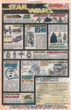 1978 Star Wars Marvel Comic Book Full Page Print Ad Figures Rings Plush Toys Retro Advertising, Vintage Advertisements, Vintage Ads, Vintage Comic Books, Vintage Comics, Star Trek, Hero World, Star Wars Merchandise, Old Comics