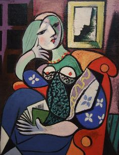 Pablo Picasso (Spanish, 1881-1973): Woman with a Book, 1932 (Oil on canvas. The Norton Simon Foundation)