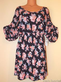 NWT Junior's Small Charlotte Russe Boho Chic Floral Dress Black Peach #CharlotteRusse #Shift #Casual