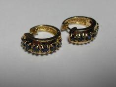 Sterling sapphire pierced earrings gold by GingersLittleGems