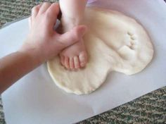 salt dough heart footprints gift- maybe for special close relatives. . or just for your home as a keepsake. .