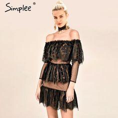 bae6be2d9c19 Simplee Off shoulder sexy lace romper women Ruffle elegant jumpsuit short  overalls female Spring streetwear elegant