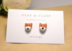 Hey, I found this really awesome Etsy listing at https://www.etsy.com/listing/116359166/fox-earrings-beautiful-handmade-polymer