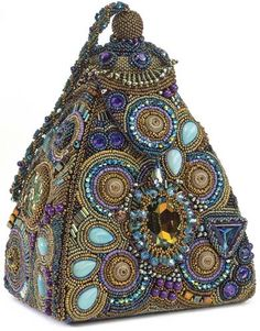 Genie's New Hangout  by Sherry Serafini  Encrusted bead embroidery, pearls and semi-precious stones on handbag.