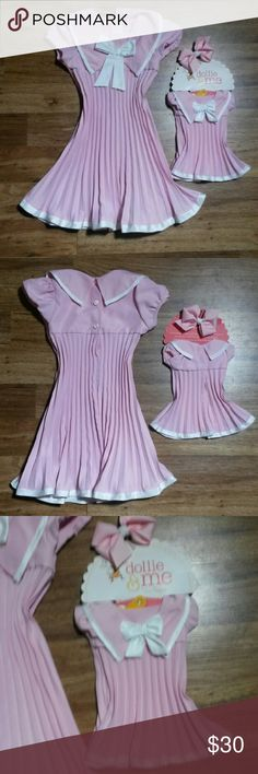Dollie & Me Pink Sailor Outfit Pink & White Size 5t Dollie & Me Dress. Includes Dress that will fit an 18inch doll. Kid size dress does not come with a hair bow Dollie & Me Dresses Casual