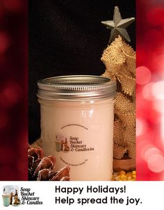 Our Christmas Candle is perfectly blended to help you celebrate the holidays. Our candles range from a modest $4.50 to an ENOURMOUS $125.00 See our website for all of your options. special sale till December 5th 25% off #blackfriday #smallbusinessSaturday #cyberMonday www.soapbucketskincare.com