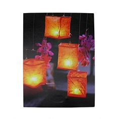 Felices Pascuas Collection LED Lighted Flickering Garden Lantern Candles with Pink Orchids Canvas Wall Art 15.75 inch x 11.75 inch