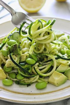 Spiralized Raw Zucchini Salad - AMAZING and no cooking required!