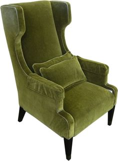 High Wing Back Chair... I Have A Thing For Green Velvet
