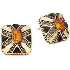 House Of Harlow 1960 Art Deco Stud Earrings ($95) ❤ liked on Polyvore featuring jewelry, earrings, orange, deco jewelry, sparkle jewelry, house of harlow 1960 jewelry, sparkly earrings and stud earrings