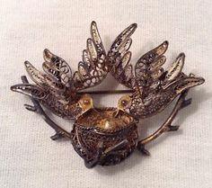 Antique Filigree Birds with Nest Pin Brooch Sterling Silver   eBay