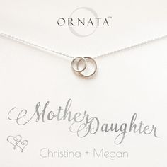 """Mother Daughter Necklace"" Personalized Sterling Silver Necklace 