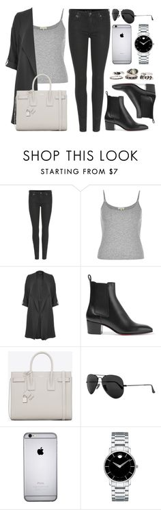 """""""Sin título #11930"""" by vany-alvarado ❤ liked on Polyvore featuring 7 For All Mankind, River Island, Christian Louboutin, Yves Saint Laurent, Ray-Ban and Movado"""