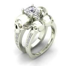 10 k White Gold Skull Engagement Ring