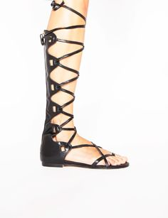 knee high black leather gladiator sandals - Shop the latest Fashion Trends