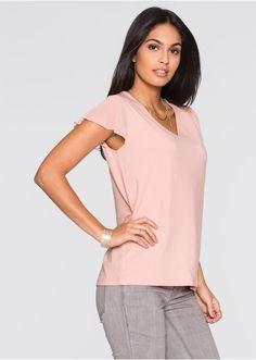 Shirt z eleganckimi krótkimi rękawami typu motylki i dekoltem w serek, z kolekcji Bodyflirt. Dł. w rozm. 36/38 ok. 64 cm, w rozm. 40/42 ok. 66 cm. Materiał wierzchni: 95% wiskoza, 5% elastan; Rękawy: 100% poliester