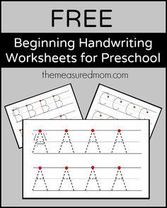 Get a set of free beginning handwriting worksheets for preschool!
