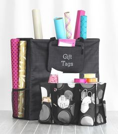 Our large Room for Two Utility Tote and our popular Organizing Utility Tote team up to keep gift wrap together and ready.