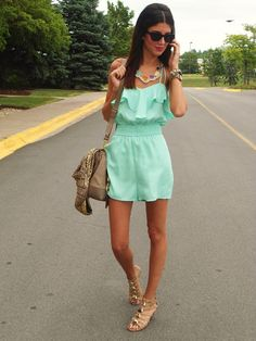 ~Adorable mint romper (wish I would have spotted in the Summer), neckalace, and gold sweater!~