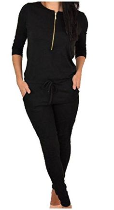 af0b1852e495 Women Soft Cotton Long Sleeve Sweatshirts and Waisted Pant Set Gym Suit  Jumpsuit  brFixmatti Women Crewneck Sleeve Front Zip up Drawstring Casual  Jumpsuit ...