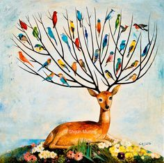 Tree of life-joy of tree-gift-Fantasy wall art-Oil painting print-birds in tree-colorful birds-deer-fawn-nature Large Canvas Prints, Stretched Canvas Prints, Oil On Canvas, Love Painting, Painting Prints, Paintings, Spiritual Animal, Colorful Birds, Tree Of Life