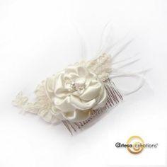 Peigne argent fleur satin dentelle ivoire