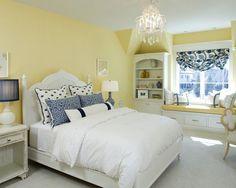 Kuvahaun tulos haulle bedroom in white, blue and saffron yellow