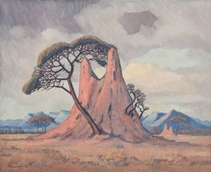 Pierneef, South West African Landscape with Termite Hill, Umbrella Trees and Mountains in the Background. Landscape Art, Landscape Paintings, African Paintings, Virtual Art, South African Artists, Art Academy, Figure Drawing, Artist At Work, Art Images