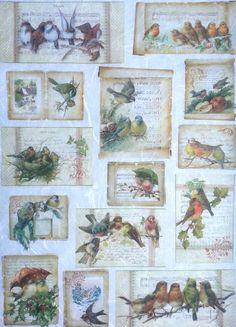 Rice Decoupage Paper Decopatch Decoupage Sheets Scrapbooking, Winter Birds Mix