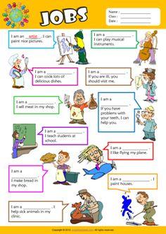 Jobs Find the Words ESL Vocabulary Worksheet