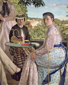 frederic bazille paintings | enlarge painting painting name family reunion detail of two women 1867 ...
