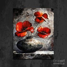 Poppies 02 - Style Black White And Red Painting by Emerico Imre Toth