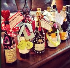 Coolest idea for bridal shower. Buy wine & champagne for each holiday of the 1st year of marriage