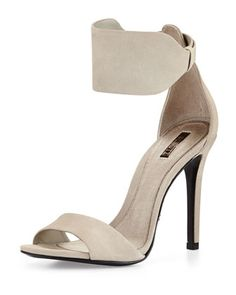 Hidden-Buckle Leather Sandal, Cement by Schutz at Neiman Marcus Last Call.